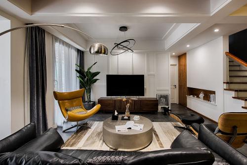 轻奢68平混搭复式客厅装修图客厅窗帘121-150m²复式潮流混搭家装装修案例效果图