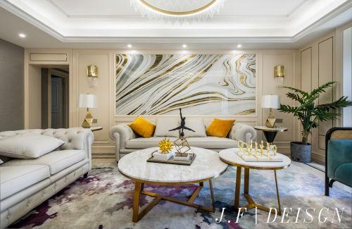 大气210平简欧三居设计美图客厅背景墙201-500m²北欧极简家装装修案例效果图