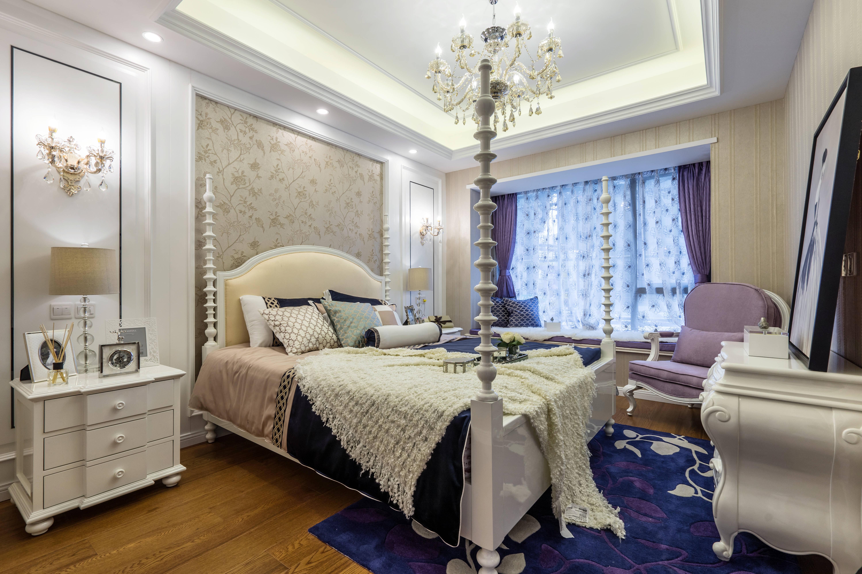 悠雅83平新古典三居卧室装修设计图卧室2图美式经典卧室设计图片赏析