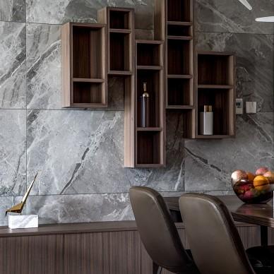 高端稳重的现代风格四居室背景墙设计