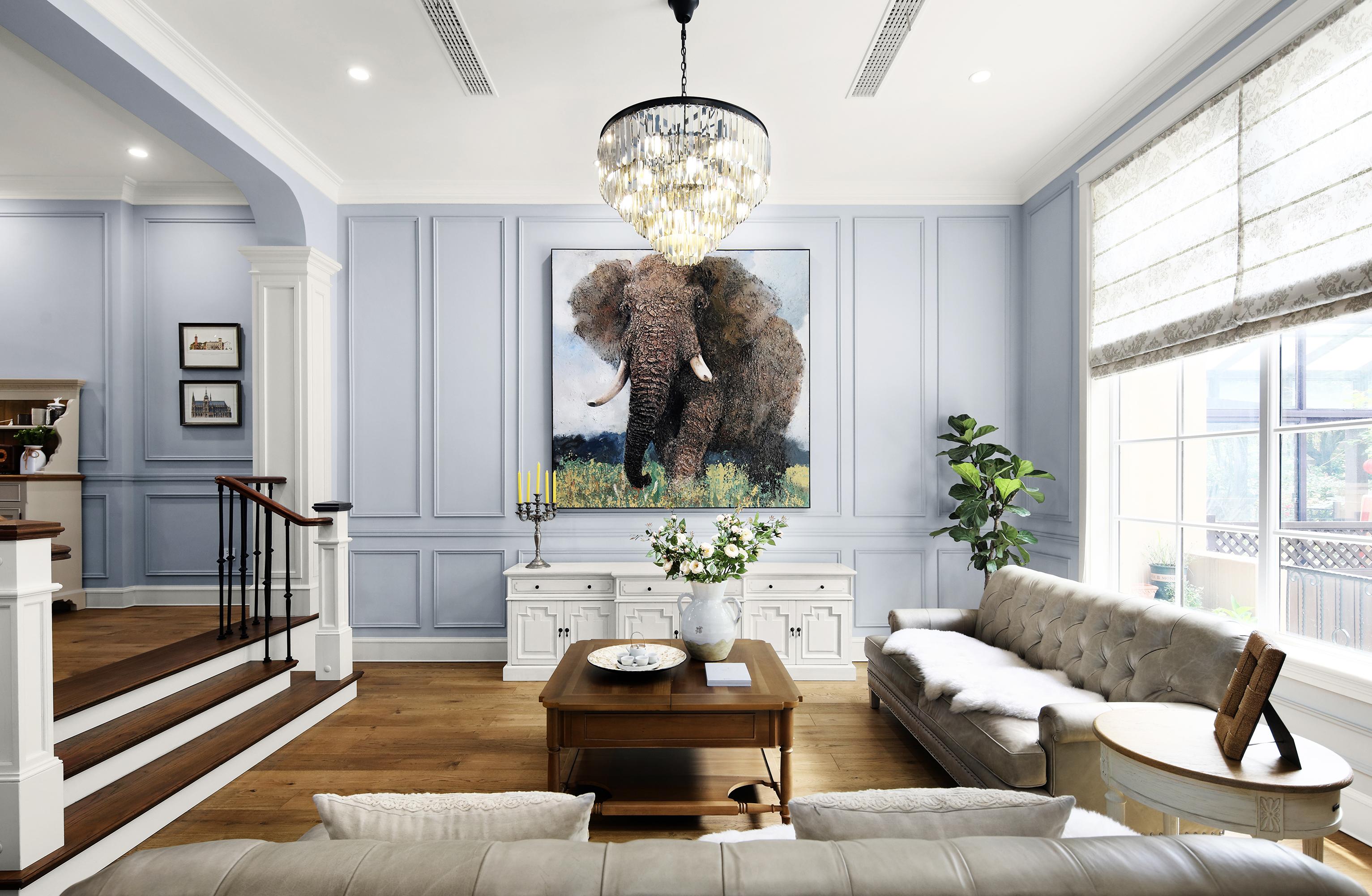 质朴380平美式别墅客厅效果图欣赏客厅美式经典客厅设计图片赏析