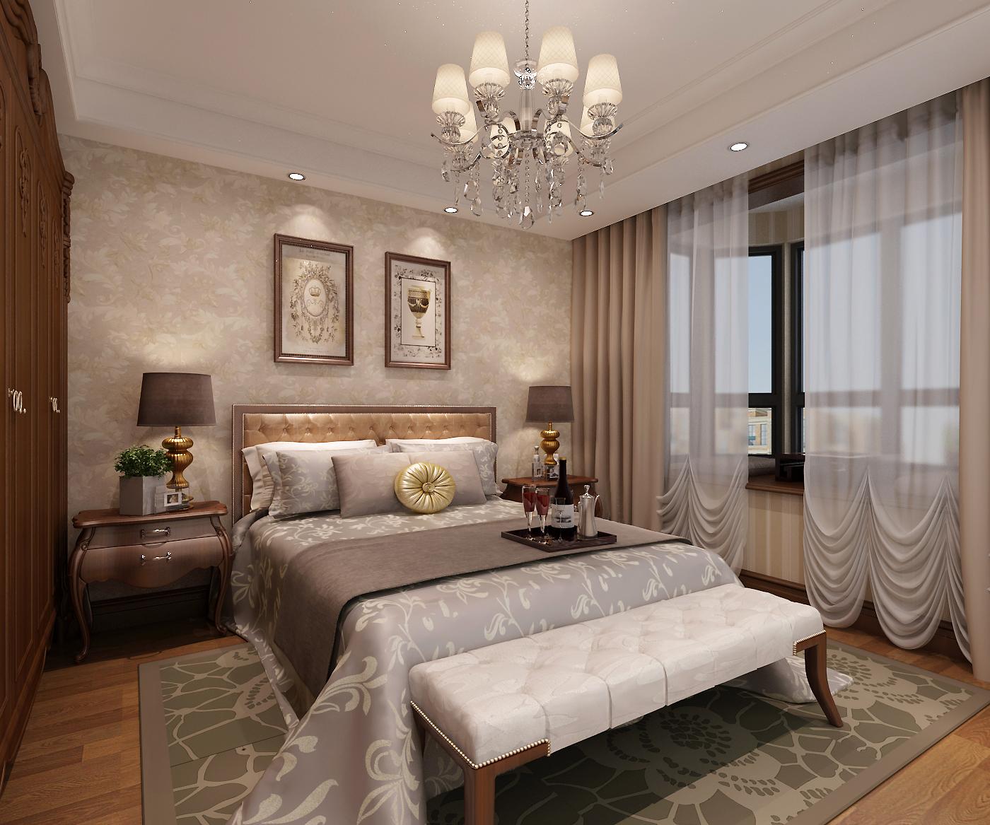 美式主卧效果图卧室美式经典卧室设计图片赏析