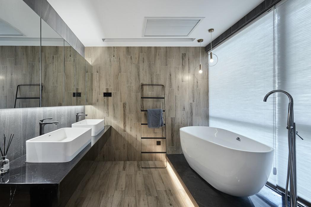 轻奢68平混搭二居卫生间装修美图卫生间洗漱台潮流混搭卫生间设计图片赏析
