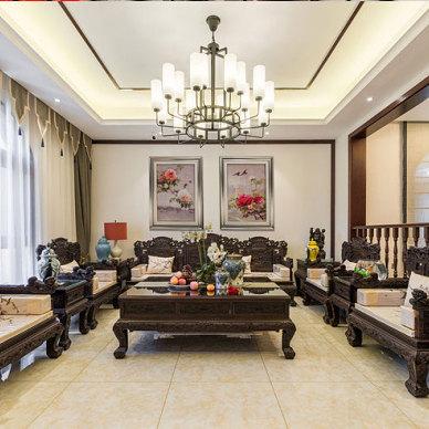 新中式别墅装修效果图_新中式别墅设计案例_3397232