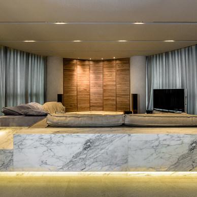 现代风格之回归本质生活客厅全景设计图