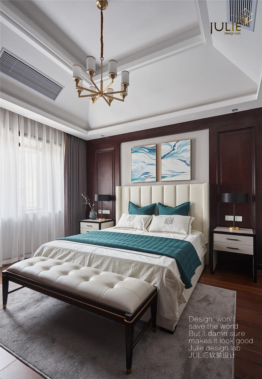 悠雅383平中式别墅卧室装修图卧室1图中式现代卧室设计图片赏析