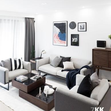 北欧风格清新森系之灰色沙发客厅设计图