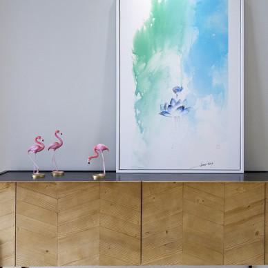 北欧风格四居客厅装饰画设计图
