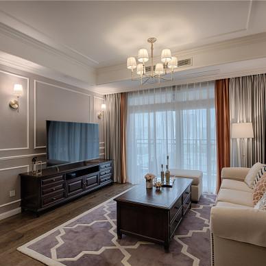 单身汪的现代美式三居室客厅设计