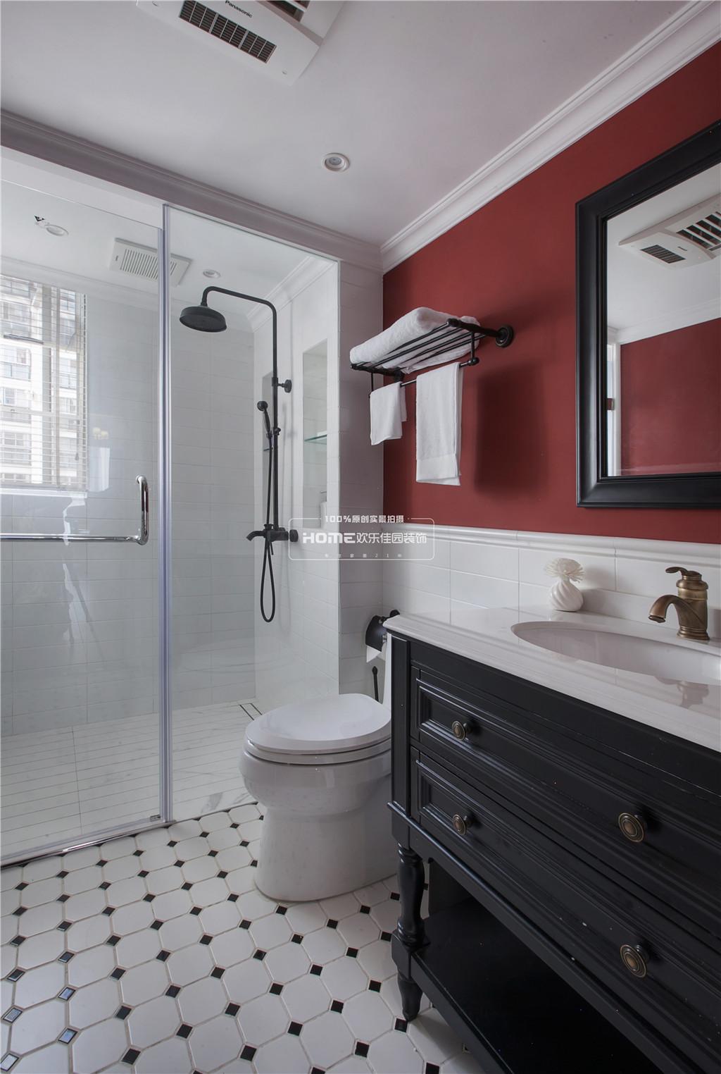 轻奢94平美式三居卫生间装修图片卫生间马桶美式经典卫生间设计图片赏析