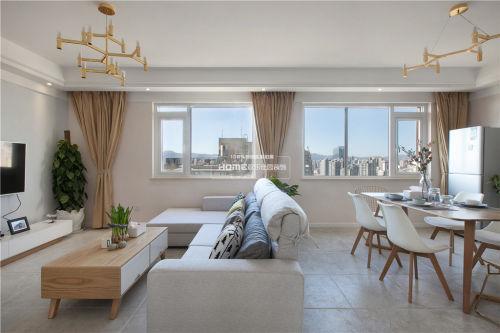 温馨153平北欧四居客厅装修设计图厨房窗帘151-200m²四居及以上家装装修案例效果图