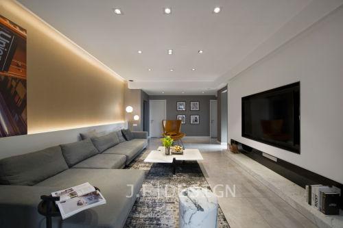 轻奢120平现代四居客厅装修美图客厅沙发101-120m²四居及以上现代简约家装装修案例效果图