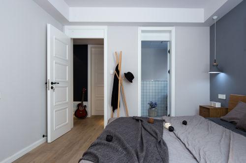 简洁51平北欧二居卧室效果图片大全卧室木地板