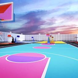 色彩缤纷的街区篮球场---激烈运动与安静空间_3442954