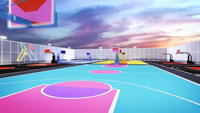 色彩缤纷的街区篮球场---激烈运动与安静