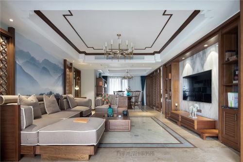 温馨300平中式四居客厅装饰图片客厅软装201-500m²四居及以上中式现代家装装修案例效果图