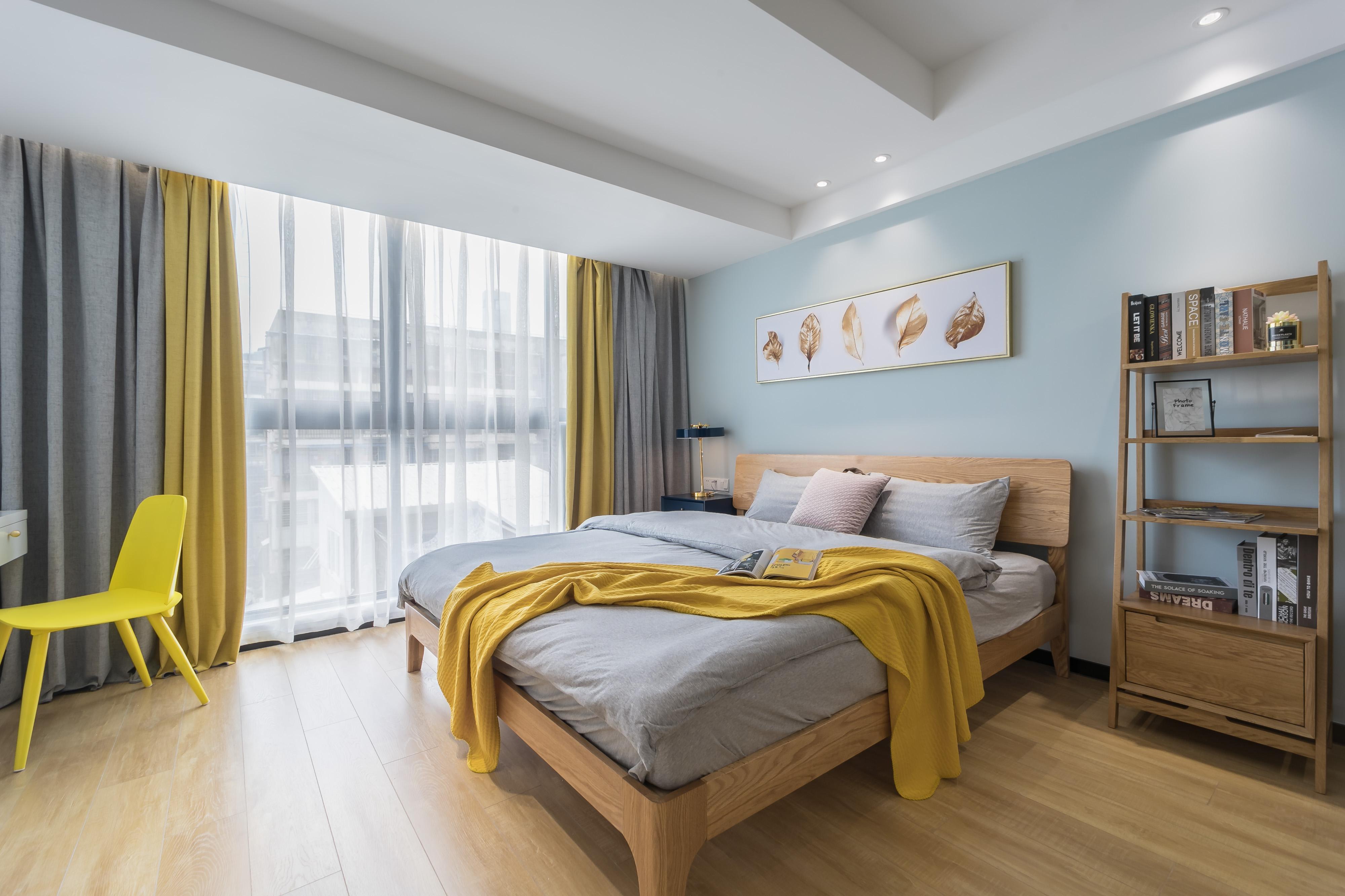 《糖果罐》小户型北欧主卧室设计卧室窗帘北欧极简卧室设计图片赏析