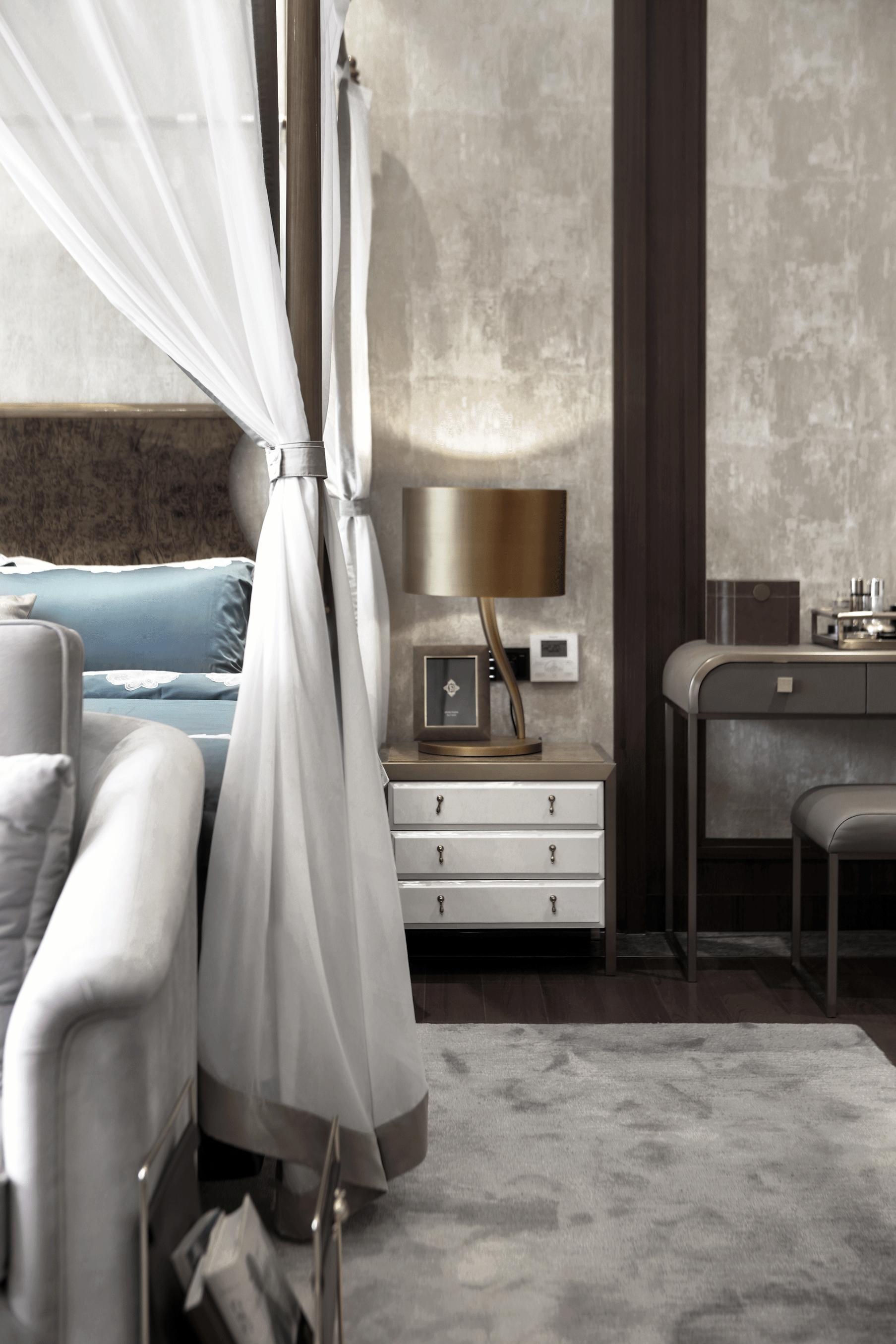质朴464平中式别墅卧室装修美图卧室中式现代卧室设计图片赏析