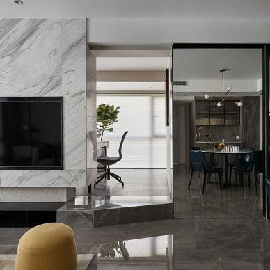 灰色系现代背景墙设计实景