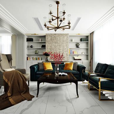 现代美式415平客厅设计实景图