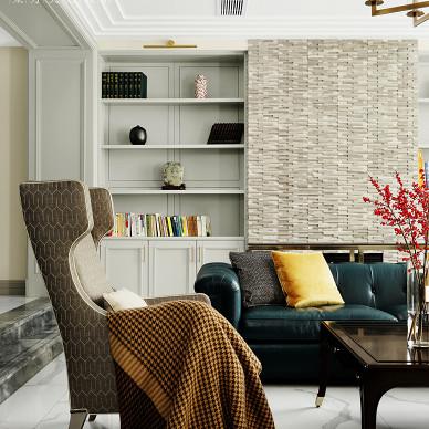 现代美式415平客厅图片