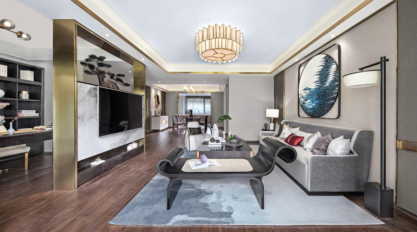 质朴198平中式样板间客厅装饰美图客厅中式现代客厅设计图片赏析