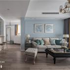 浅蓝系美式客厅设计图