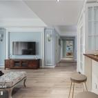 浅蓝系美式背景墙设计图