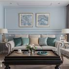 浅蓝系美式客厅背景画设计图