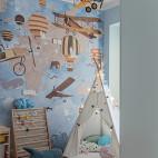 浅蓝系美式儿童房设计图