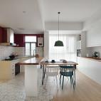 简白北欧餐厅厨房一体设计