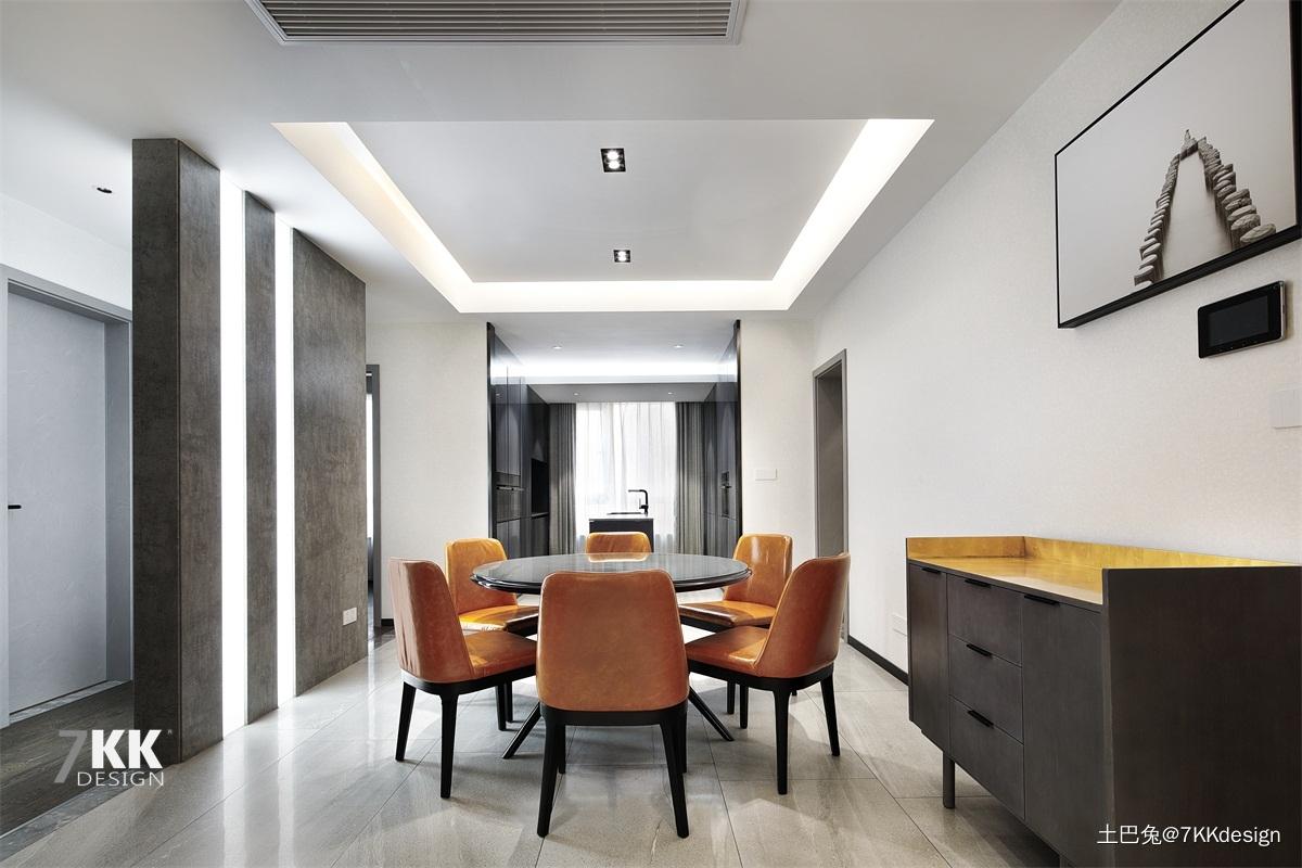 轻奢115平现代三居餐厅装潢图厨房现代简约餐厅设计图片赏析