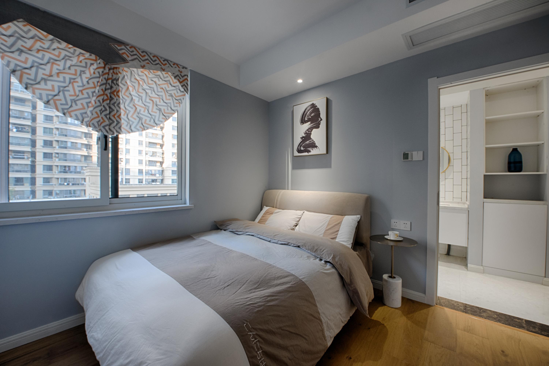 明亮110平现代三居卧室装修装饰图卧室现代简约卧室设计图片赏析