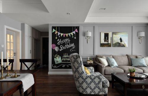 温馨97平简约三居客厅案例图客厅木地板三居现代简约家装装修案例效果图