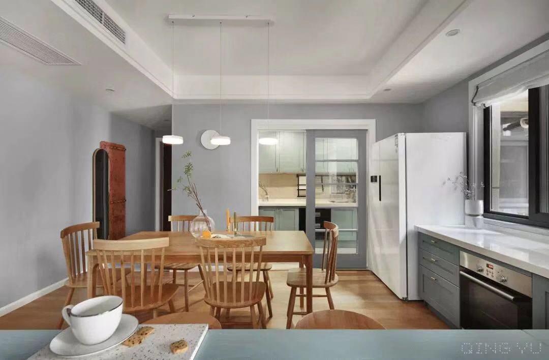 精美101平简约三居餐厅装修效果图厨房现代简约餐厅设计图片赏析