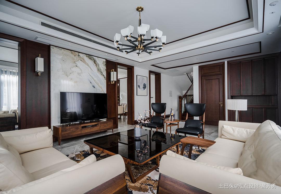 轻奢420平中式别墅客厅案例图中式现代设计图片赏析