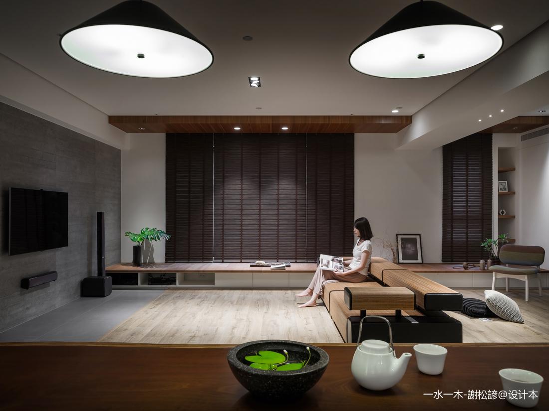 悠雅115平中式四居客厅效果图中式现代设计图片赏析