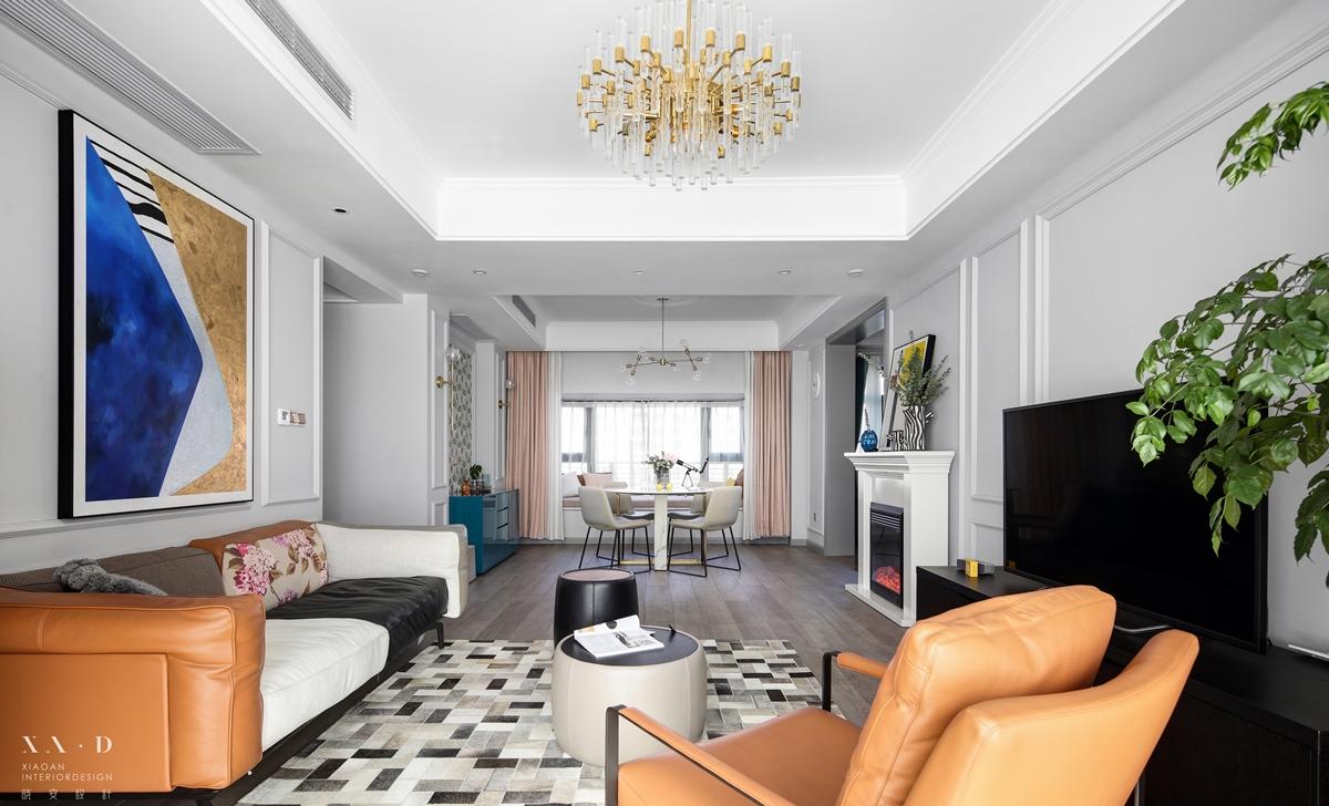 简洁95平混搭四居客厅实拍图客厅