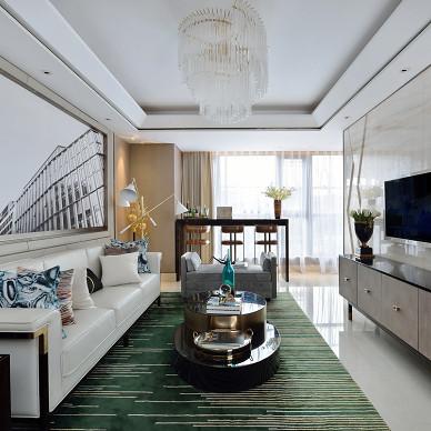 现代轻奢样板房客厅设计图