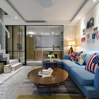 76平loft现代客厅实景图片