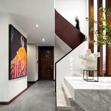 中式别墅楼梯设计实景图片