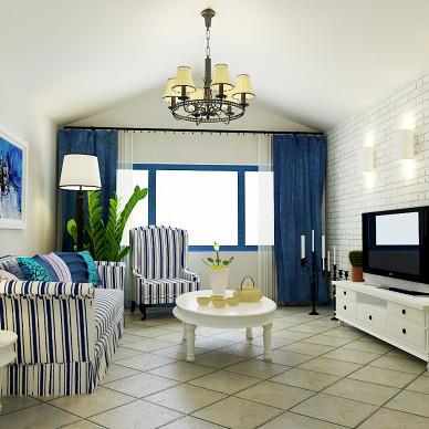 蓝色经典—吉林市地中海阁楼样板间设计_3532344