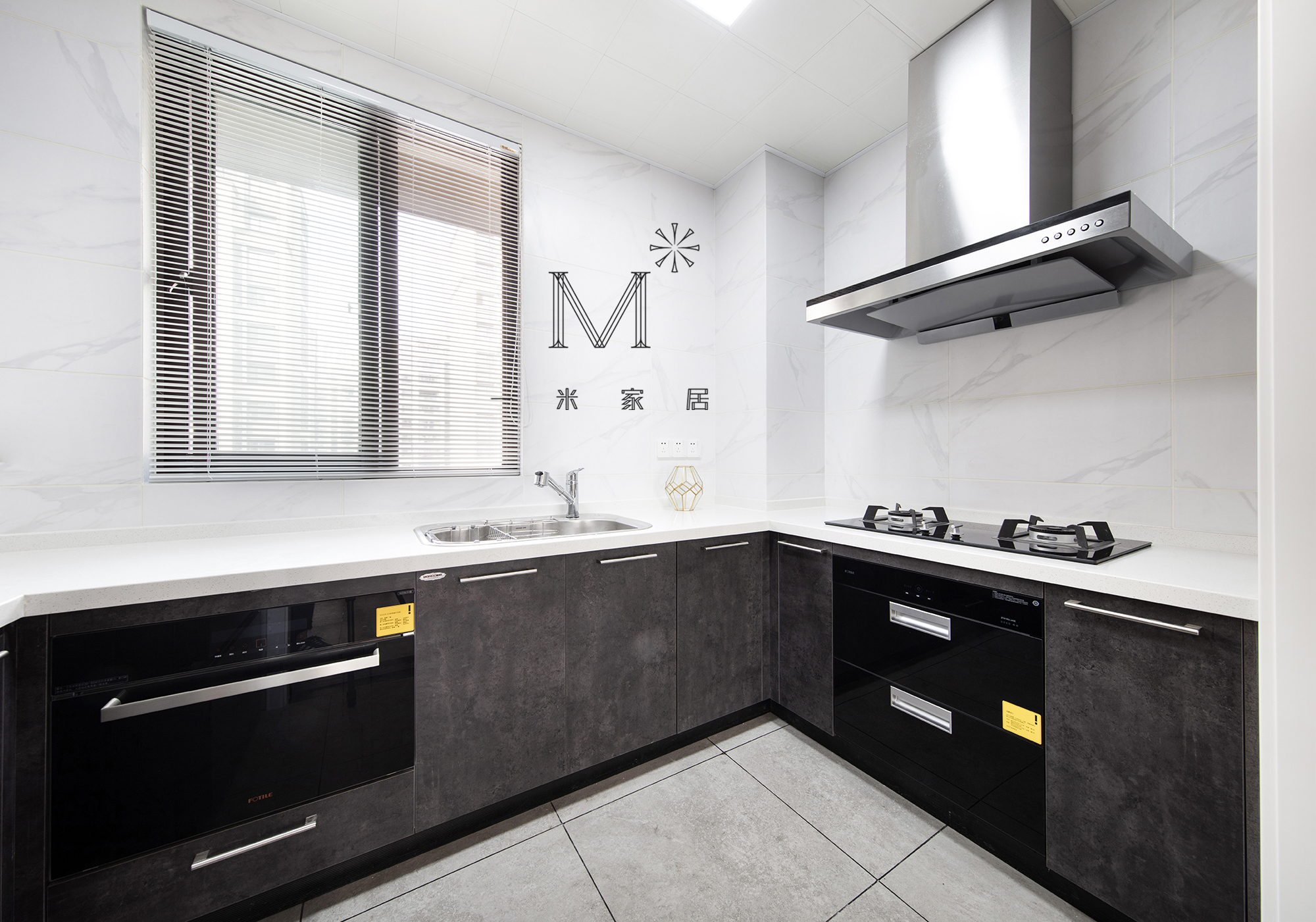 温馨119平宜家三居效果图片大全餐厅橱柜现代简约厨房设计图片赏析