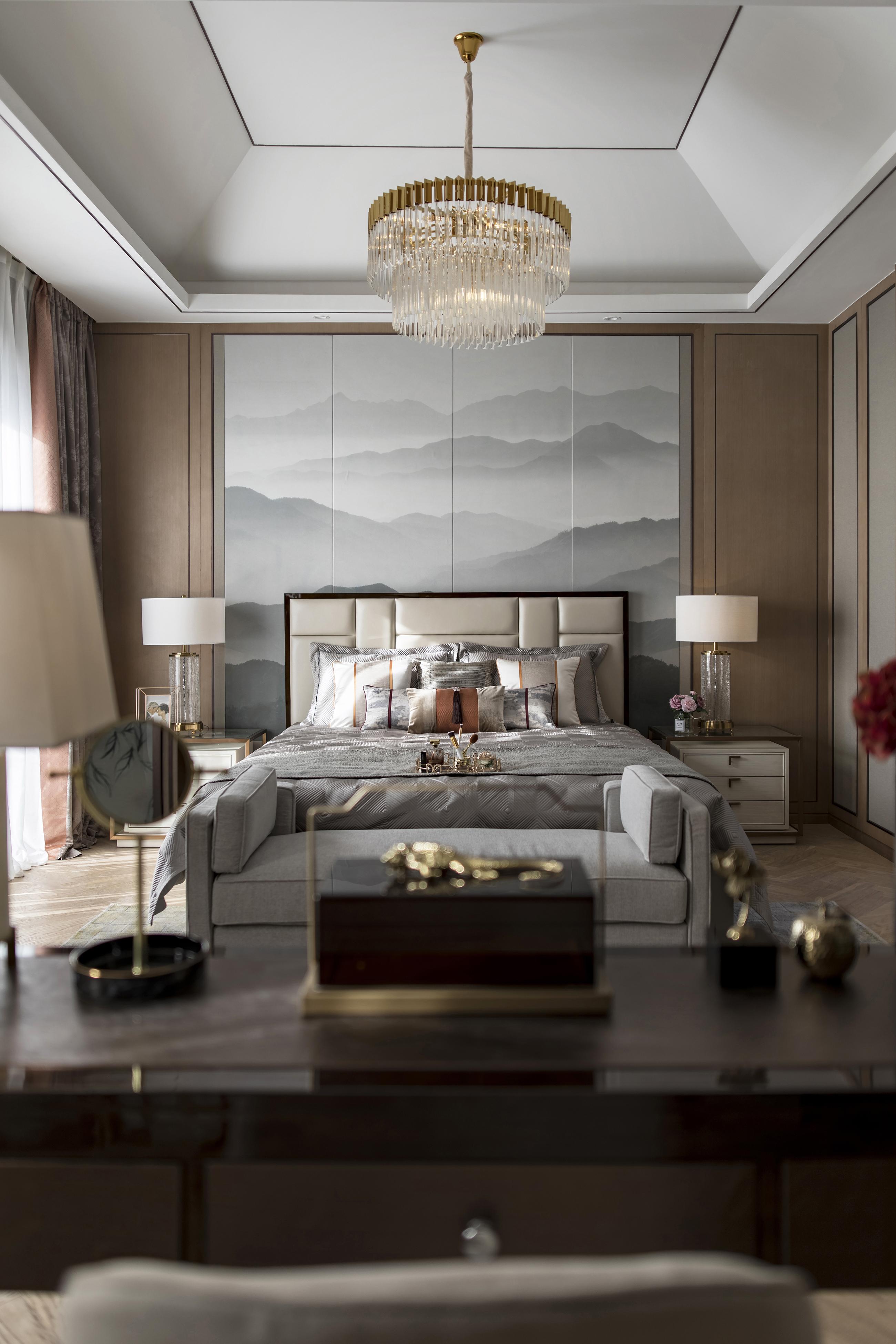 浪漫513平中式别墅卧室图片大全卧室背景墙1图中式现代卧室设计图片赏析