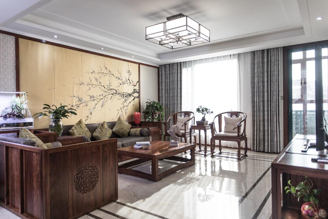 典雅123平中式三居客厅实景图客厅