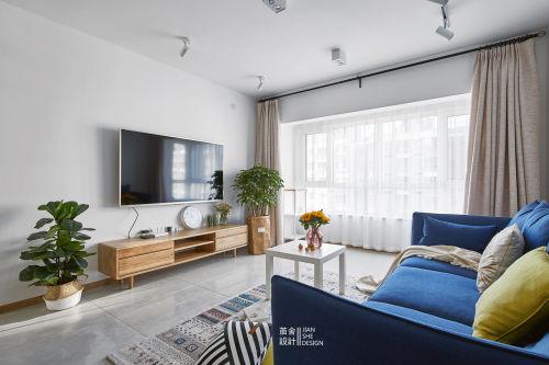 精致127平简约三居客厅图片欣赏客厅电视背景墙81-100m²三居现代简约家装装修案例效果图
