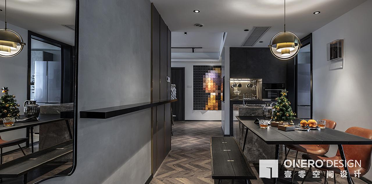 轻奢70平混搭二居餐厅装修设计图厨房橱柜潮流混搭餐厅设计图片赏析