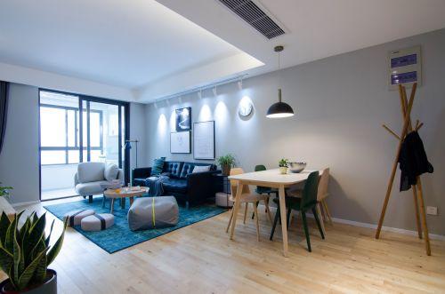 阳光小宅客厅窗帘81-100m²三居现代简约家装装修案例效果图