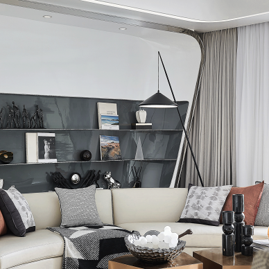 龙湖揽境九曲河样板房客厅沙发图