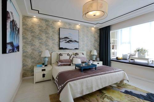 精致51平中式复式卧室效果图片大全卧室窗帘